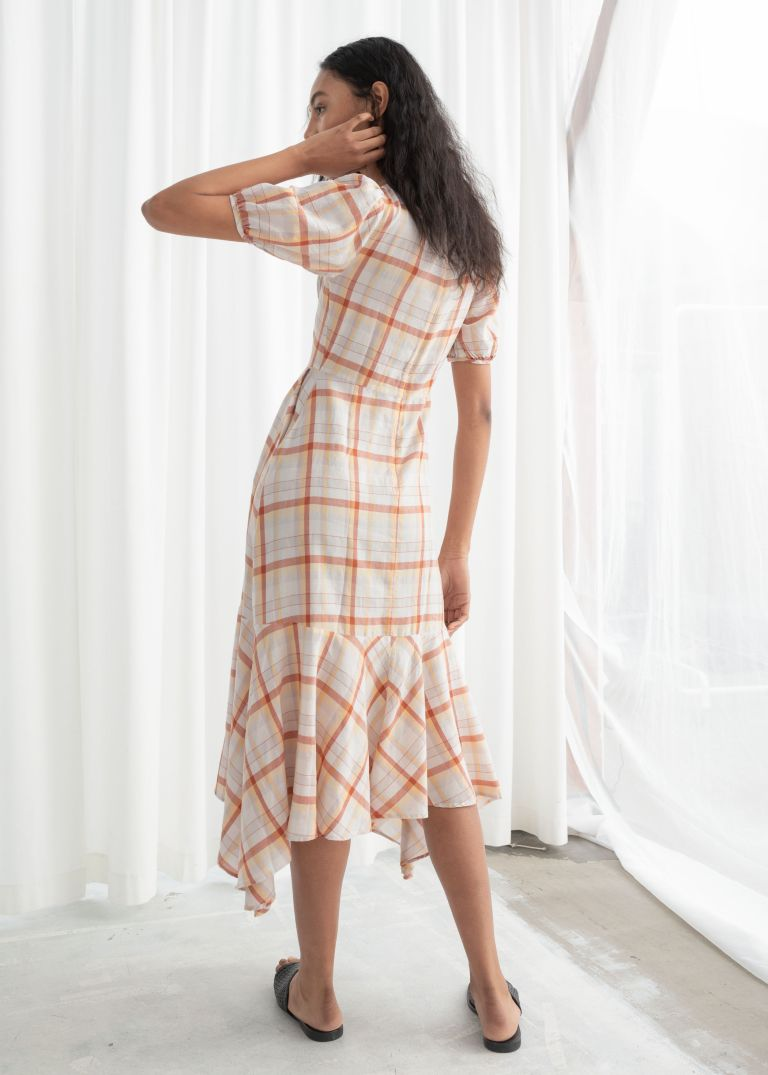 And Other Stories Cotton Blend Handkerchief Midi Dress back view
