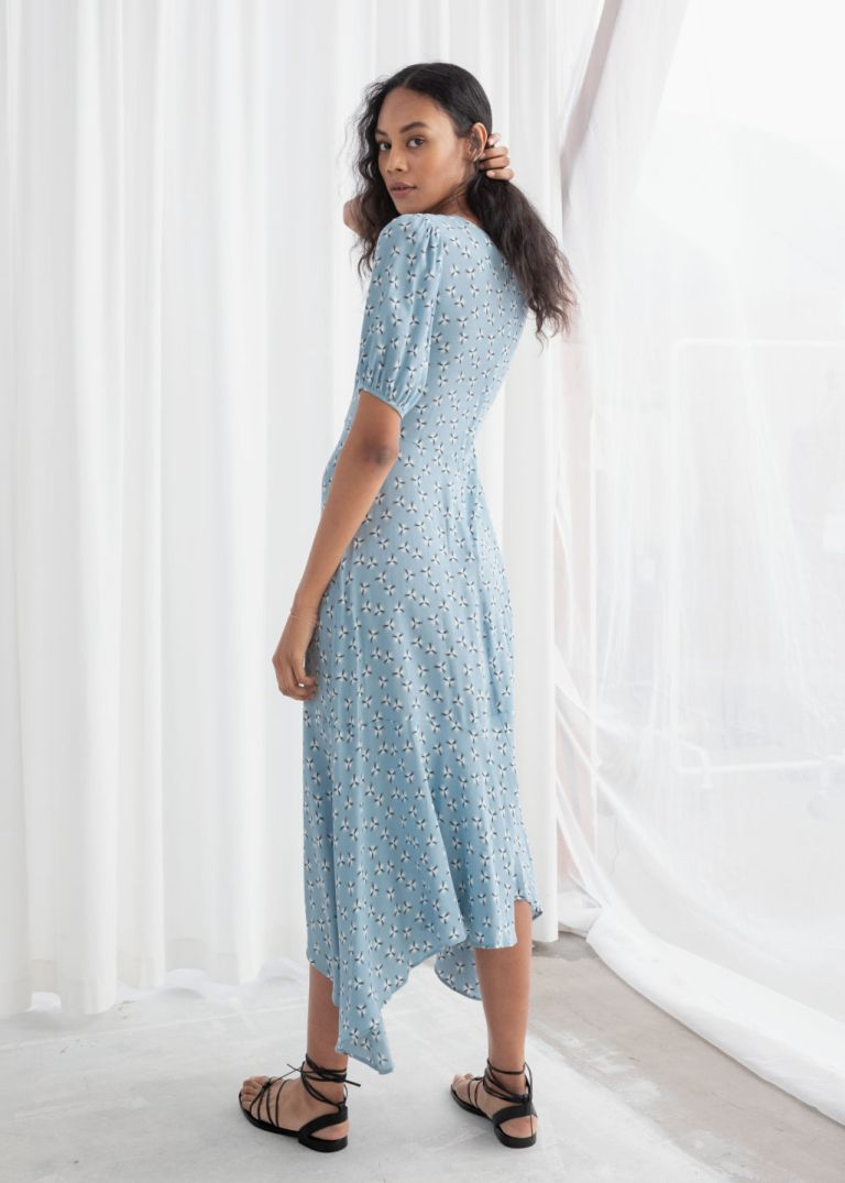 And Other Stories Cotton Blend Handkerchief Midi Dress Dandelion back view