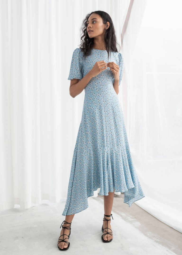 And Other Stories Cotton Blend Handkerchief Midi Dress Dandelion