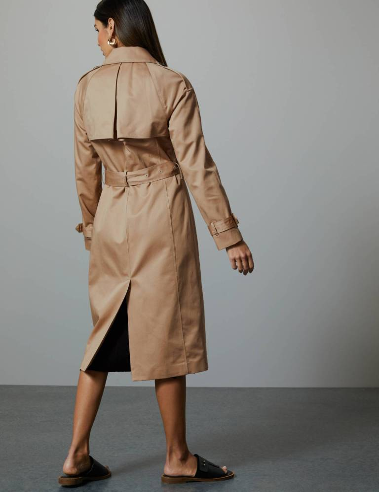 Autograph Pure Cotton Double Breasted Trench Coat back view