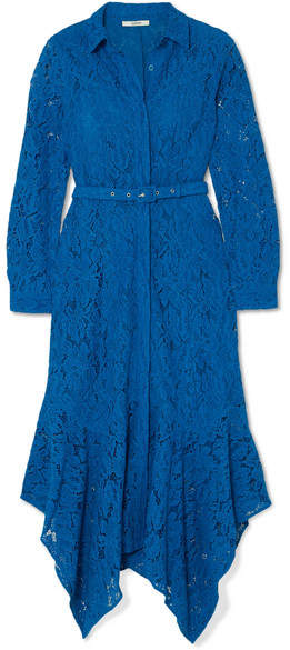 GANNI - Belted Asymmetric Corded Lace Dress - Blue