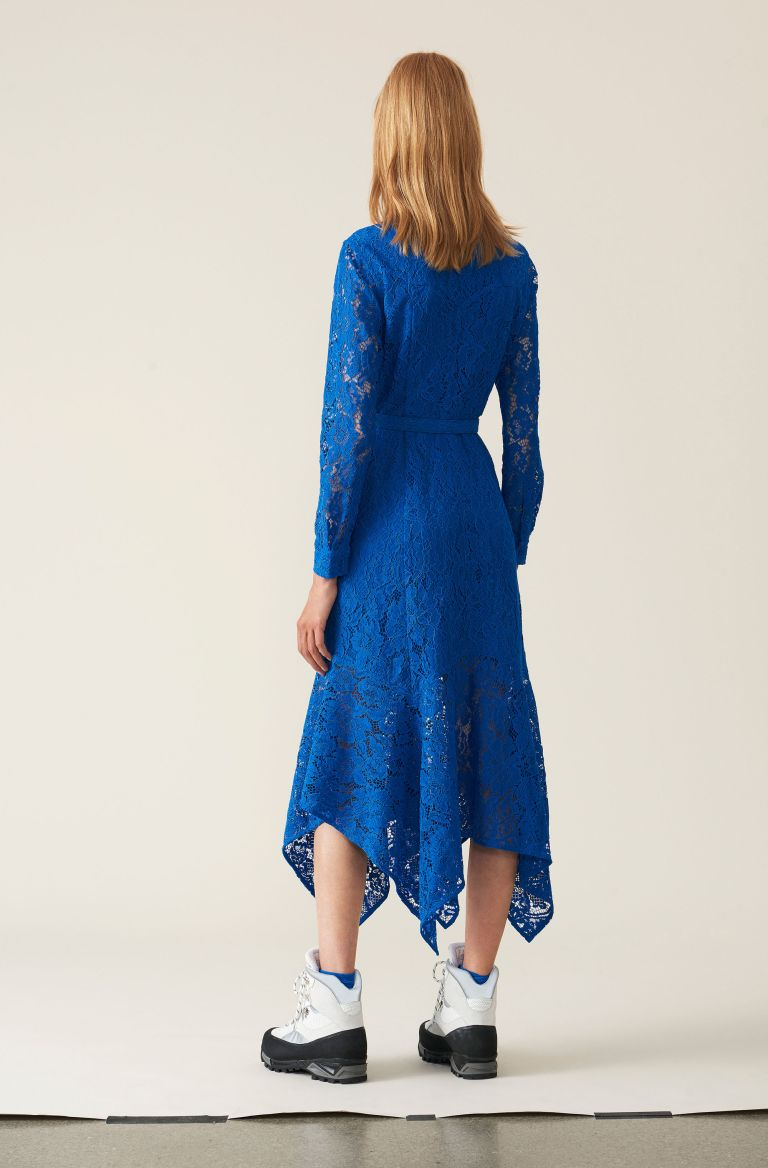 Ganni Cotton Lace Maxi Dress back view