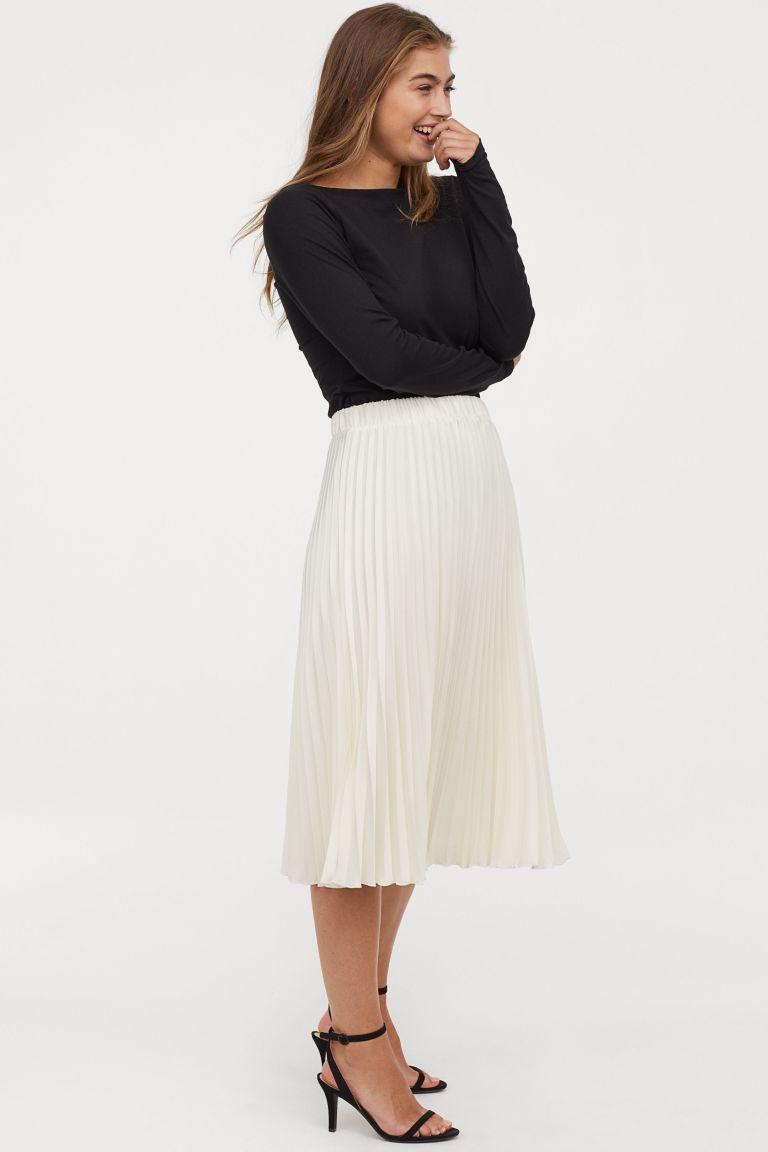 HM cream pleated skirt