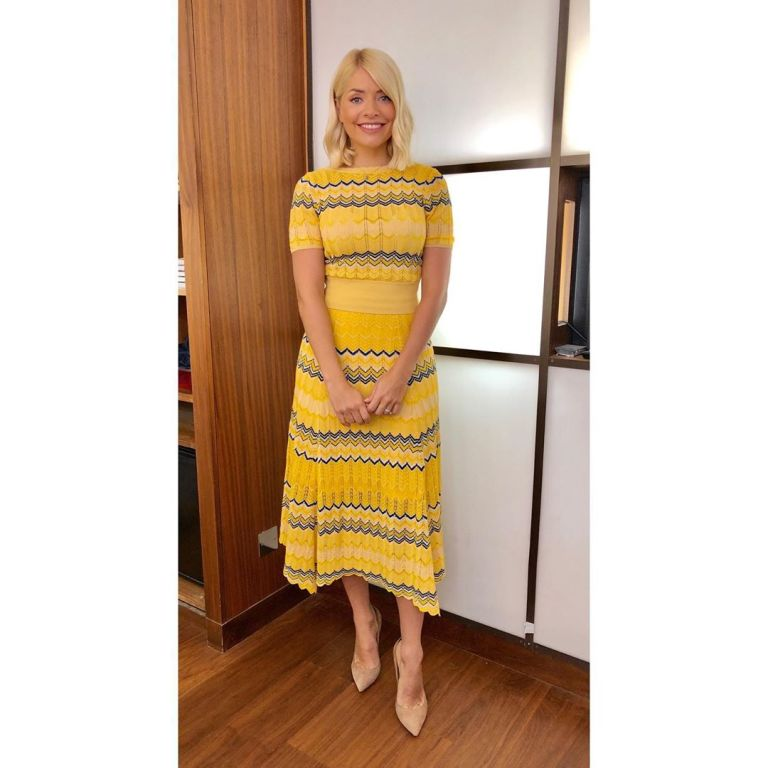 how to get Holly Willoughby This Morning outfit today yellow zigzag top and skirt nude court shoes May 2019 photo Holly Willoughby