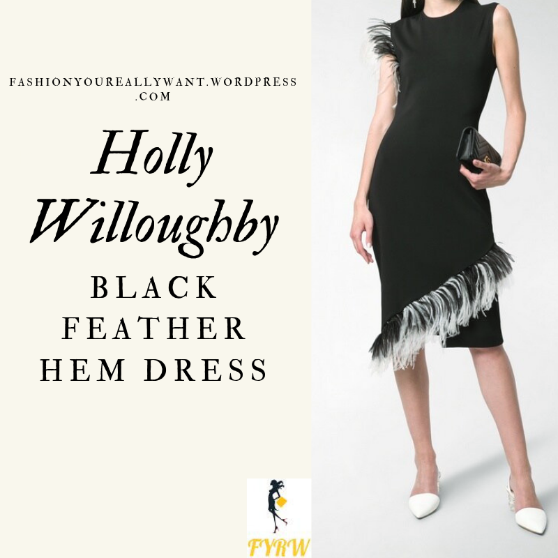 How to get Holly Willoughby's black and white feather dress outfit blog May 2019