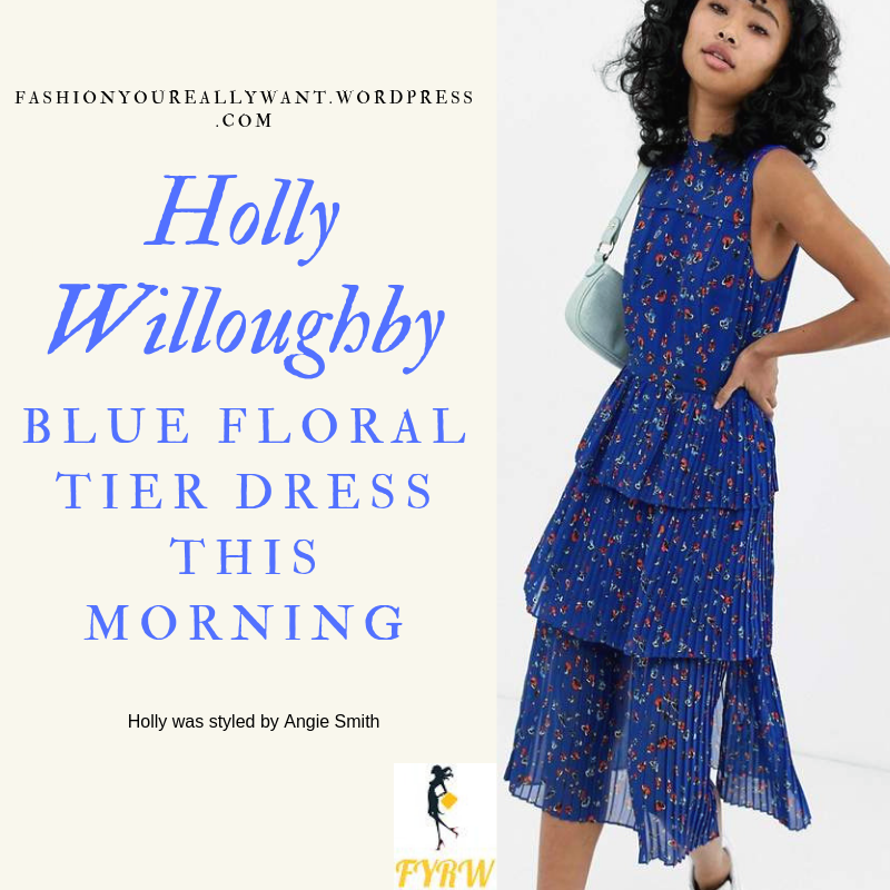 How to Get Holly Willoughby  This Morning outfit today blue floral print tiered pleated dress navy suede shoes blog MAy 2019