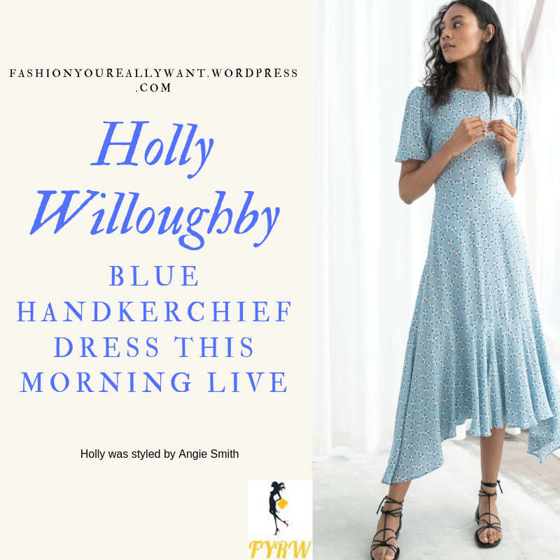 How to Get Holly Willoughby  This Morning blue handkerchief hem midi dress puff sleeves outfit today blog May 2019