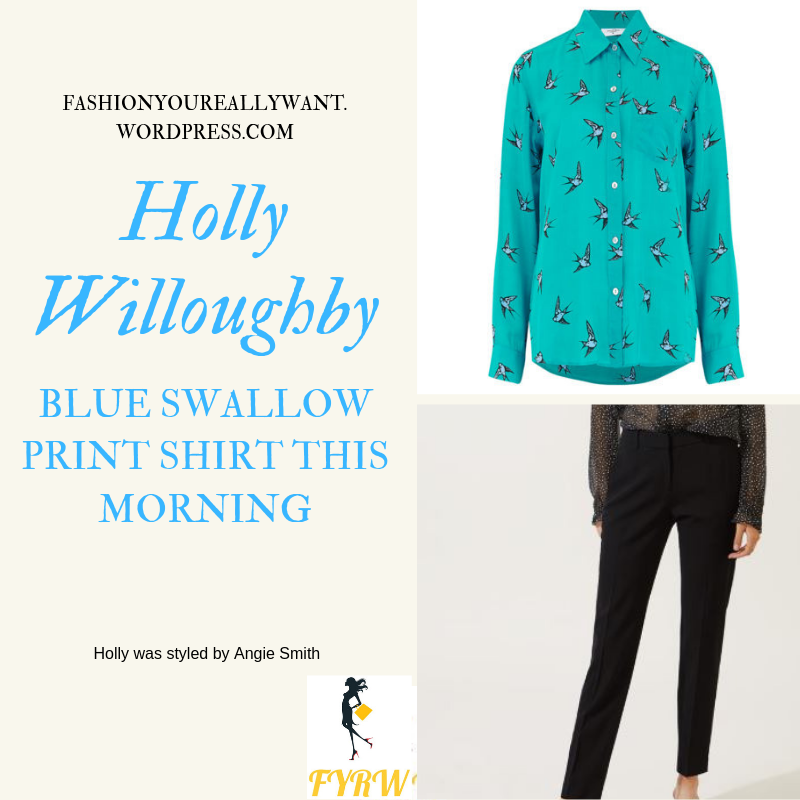 How to Get Holly Willoughby  This Morning outfit today blue bird print blouse black trousers black suede sandals blog May 2019