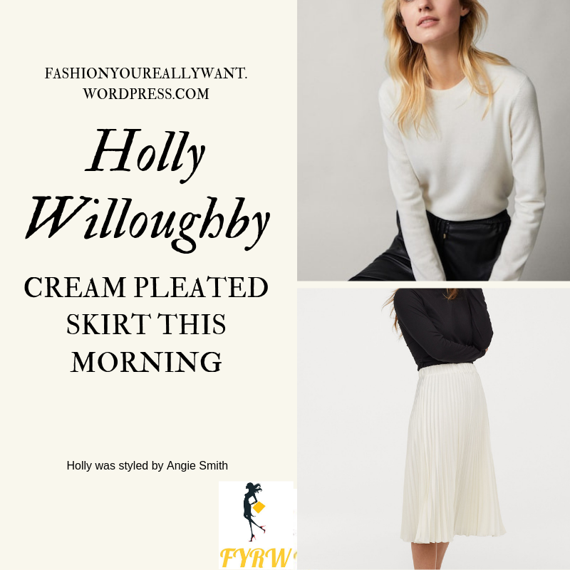 How To Get Holly Willoughby  This Morning outfit today cream pleated skirt cream knit white caged strappy court shoes blog May 2019