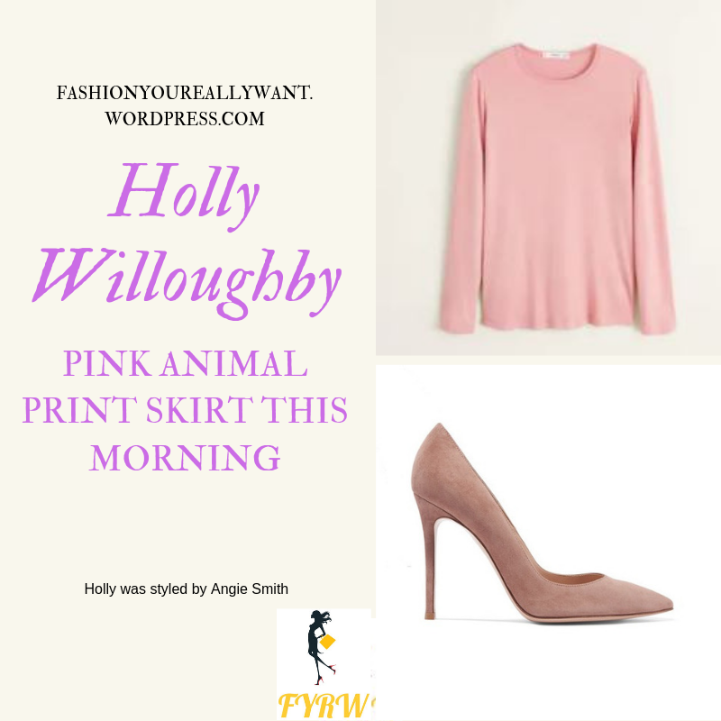 Where to get Holly Willoughby  This Morning outfit today pink lilac animal print button through skirt pink top nude suede court shoes blog May 2019