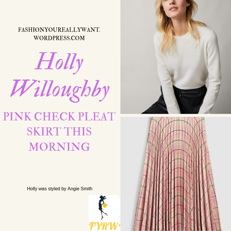 How to Get Holly Willoughby  This Morning Pink Check Pleat Skirt outfit today #HollyWilloughby #ThisMorning #hwstyle #fashionyoureallywant