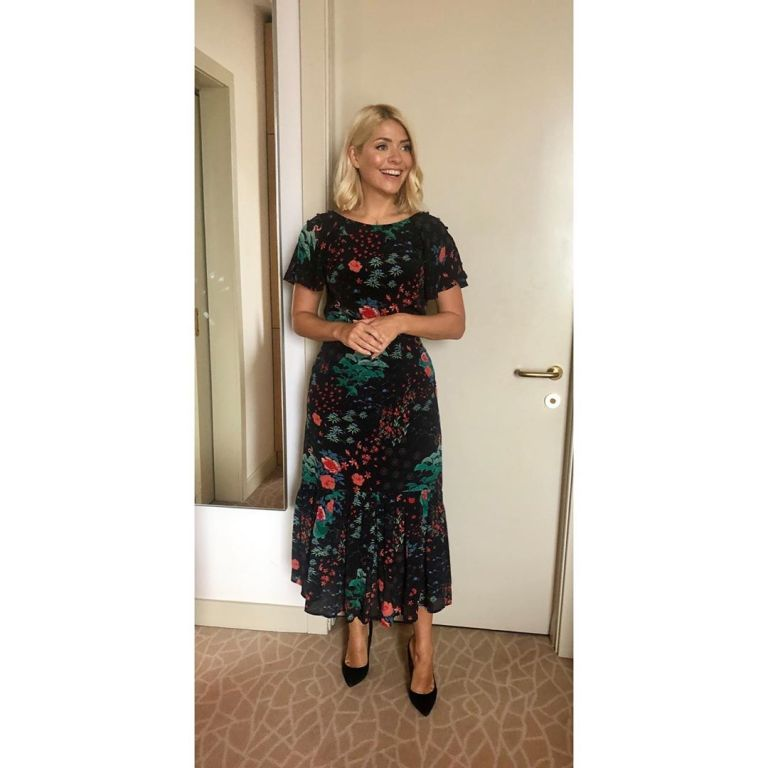how to get Holly willoughby This Morning Live outfit today black floral dress black suede court shoes May 2019 photo Holly Willoughby