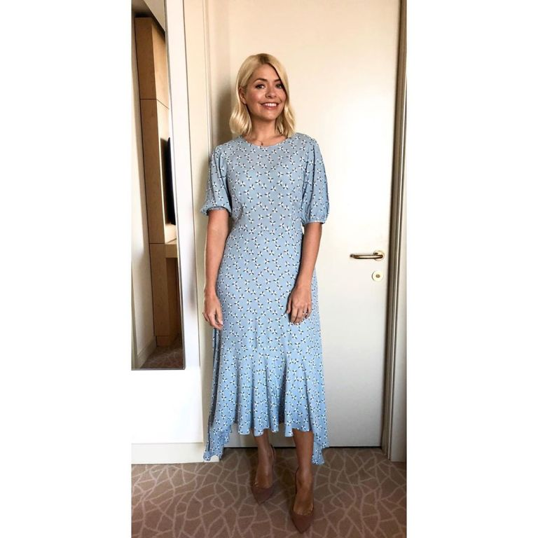 how to get holly Willoughby This Morning Live outfit today blue dress nude suede court shoes May 2019 photo Holly Willoughby