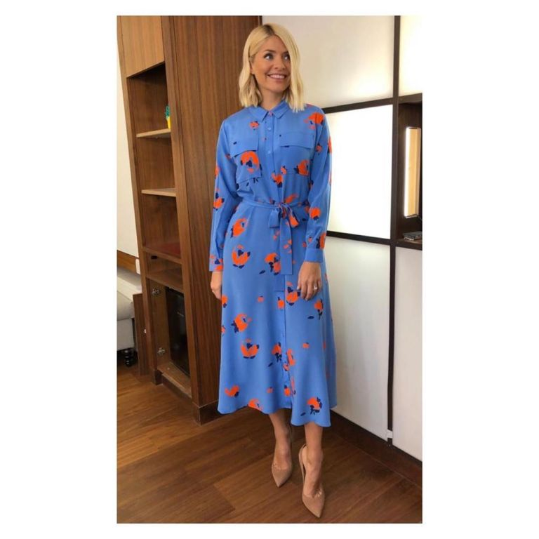how to get holly willoughby This Morning outfit today blue and red print dress nude suede court shoes May 2019 photo Holly Willoughby