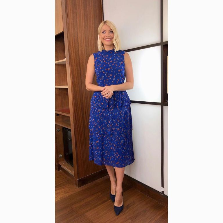 How to get holly Willoughby This Morning outfit today blue floral tiered dress bluede suede shoes May 2019 photo Holly Willloughby