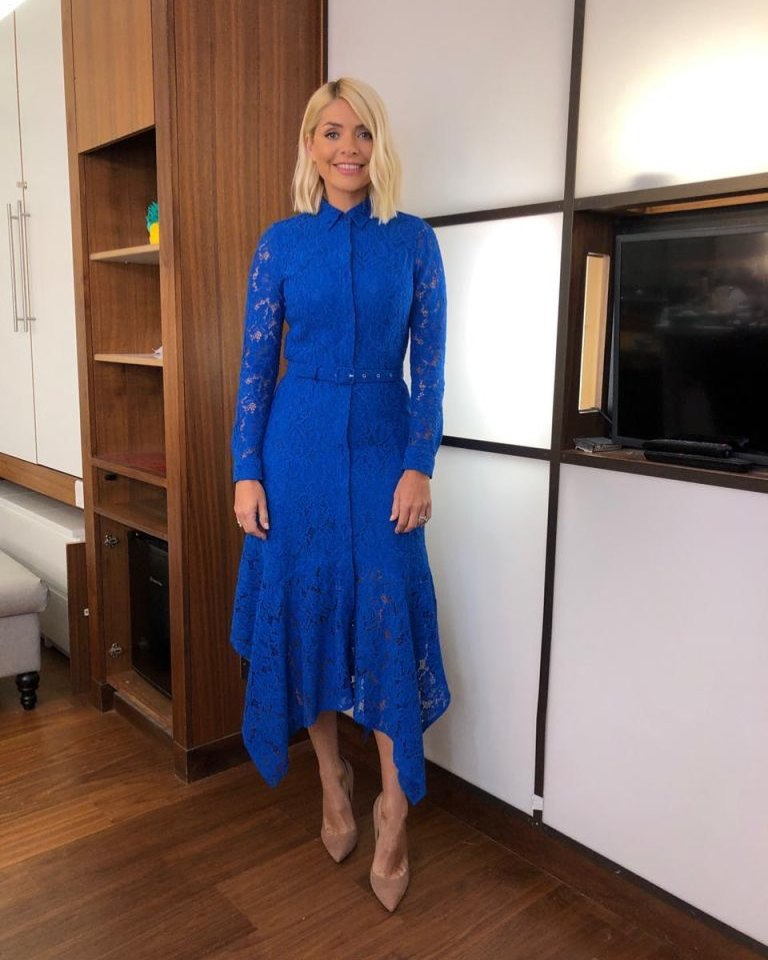 how to get Holly Willoughby This Morning outfit today blue lace maxi dress nuede suede court shoes May 2019 photo Holly Willoughby