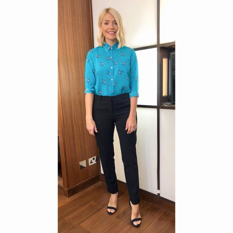 how to get holly willoughby This morning outfit today blue swllow print shirt black trousers black sandals May 2019 photo Holly Willoughby