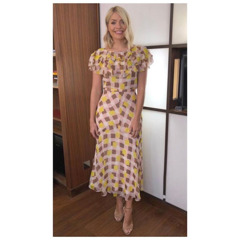 how to get Holly Willoughby This Morning outfit today pink and yellow squares chiffon dress nuded suede sandals May 2019 Photo Holly Willoughby