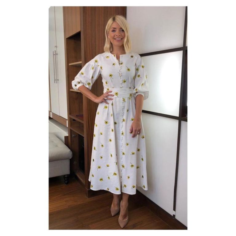How to get Holly Willoughby This Morning outfit today white dress ywllow flowers nude suede court shoes May 2019 photo Holly willoughby