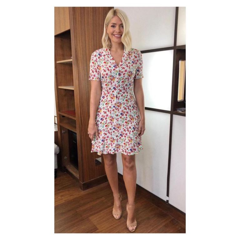 how to get holly Willoughby This Morning outfit today white floral shirt dress nude suede sandals May 2019 Photo Holly Willoughby