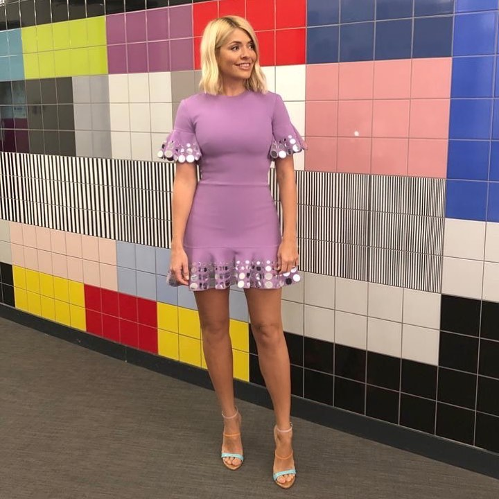 how to gt holly Willoughby Celebrity Juice outfit purple mini dress coloured sandals May 2019 photo Angie smith