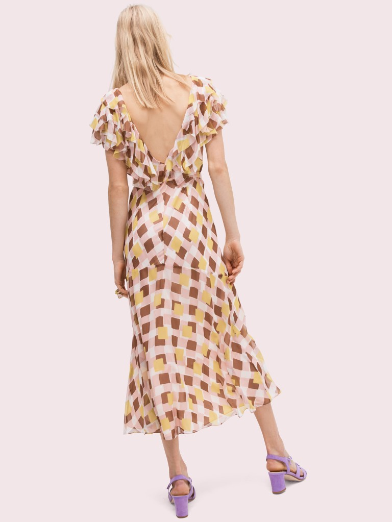 Kate Spade geo square silk dress back view