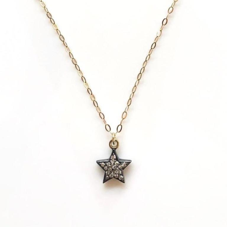 Kirstie Le Marque Double-Sided Diamond Star on Fine Gold Chain