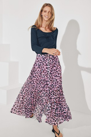 Label Mix Huishan Zhang leopard print pleat Skirt