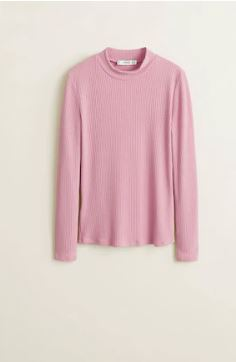 Mango long sleeve t-shirt pink v4