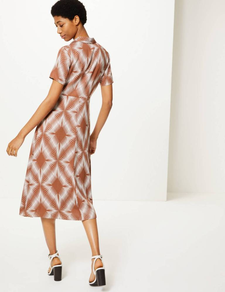 M&S Collection Diamond Print Shirt Midi Dress back view