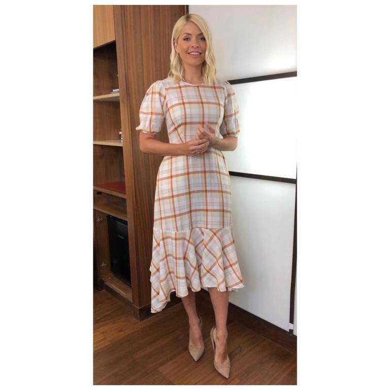 where to get Holly Willoughby This Morning outfit today white plaid dress nude suede court shoes May 2019 photo Holly Willoughby
