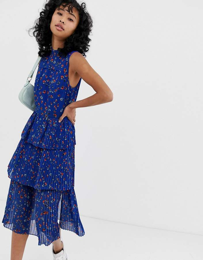 Whistles ditsy floral pleated tiered dress