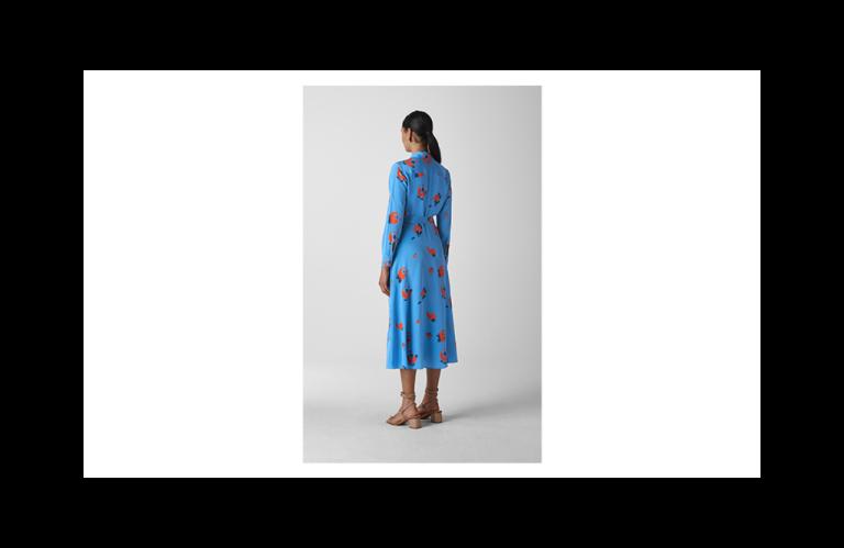 Whistles Elfrida Bud Print Silk Dress back view