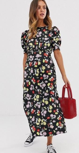 ASOS DESIGN midi tea dress in bright grunge floral print