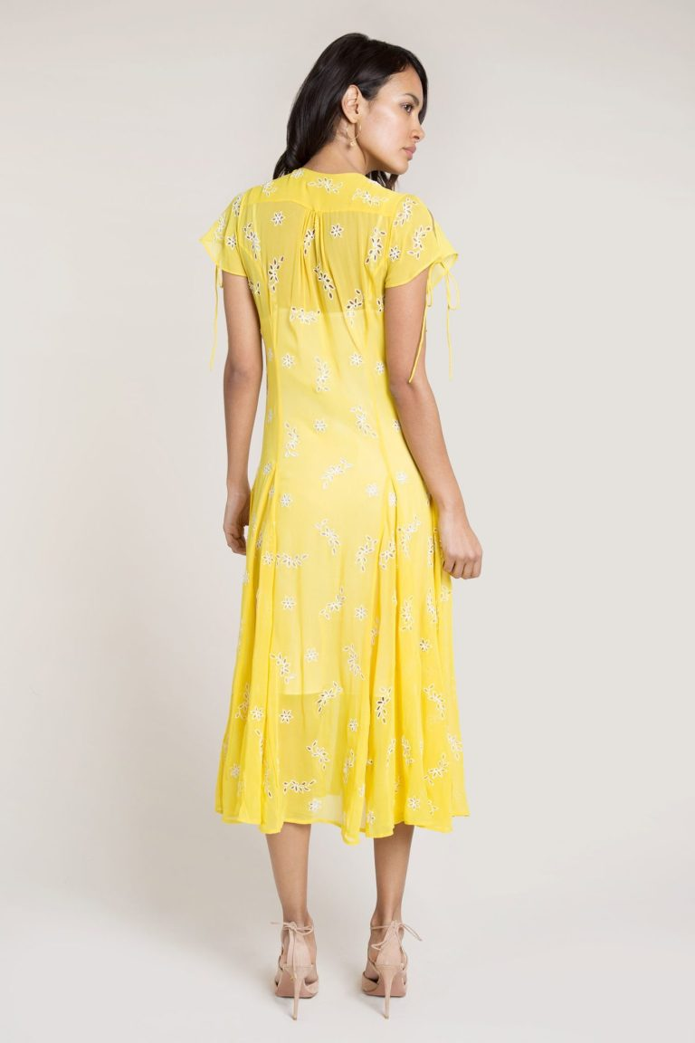 Beulah Asmi Yellow Broderie Silk Midi Dress back view