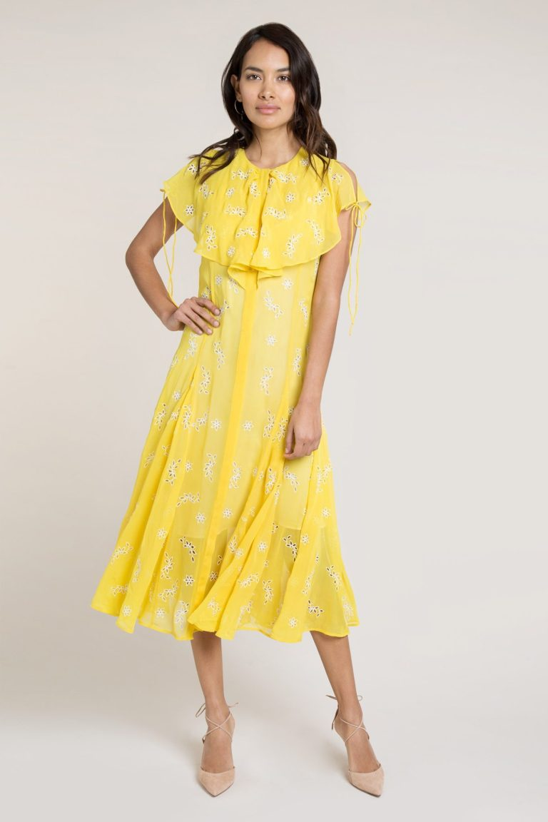 Beulah Asmi Yellow Broderie Silk Midi Dress v2