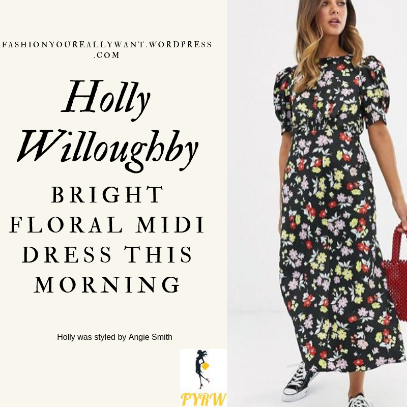Where to Find Holly Willoughby  This Morning outfit today bright floral black midi dress with short sleeves black suede court shoes blog June 2019