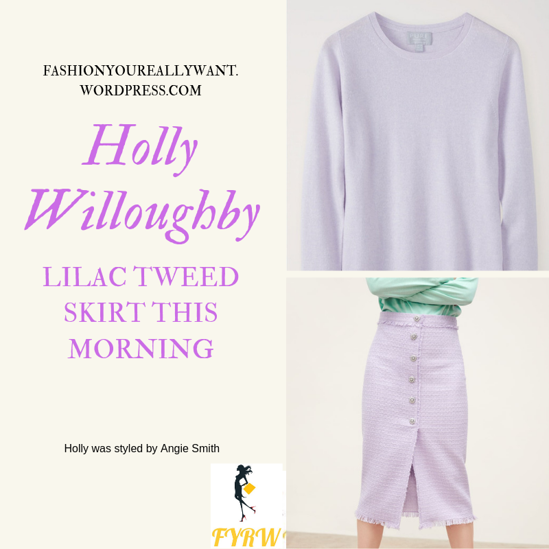 Where to find Holly Willoughby  This Morning outfit today lilac tweed skirt with rhinestone buttons lilac knitwear nude suede court shoes blog June 2019