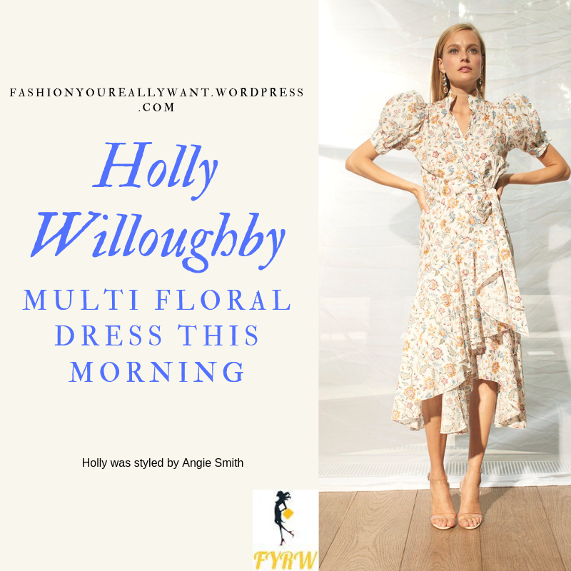 How to Get Holly Willoughby This Morning multi Liberty white floral dress nude suede court shoes outfit today blog June 2019