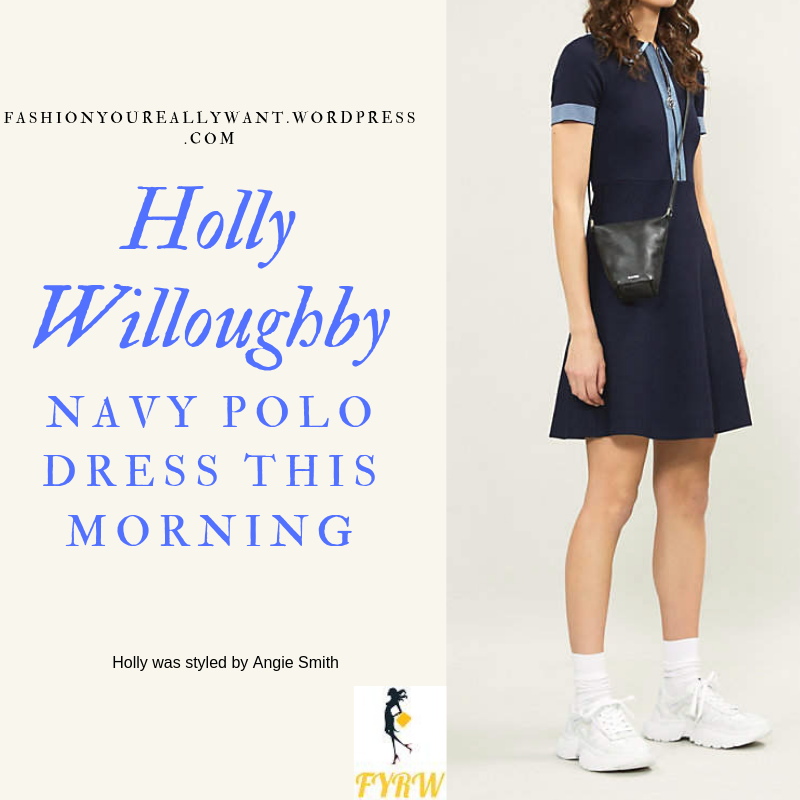 Where to Find Holly Willoughby  This Morning outfit today navy and blue knit polo dress powder blue suede court shoes blog June 2019