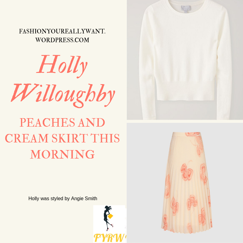 Where to Find Holly Willoughby This Morning outfit today pink and cream pleated midi skirt soft white knitwear nude suede court shoes blog June 2019