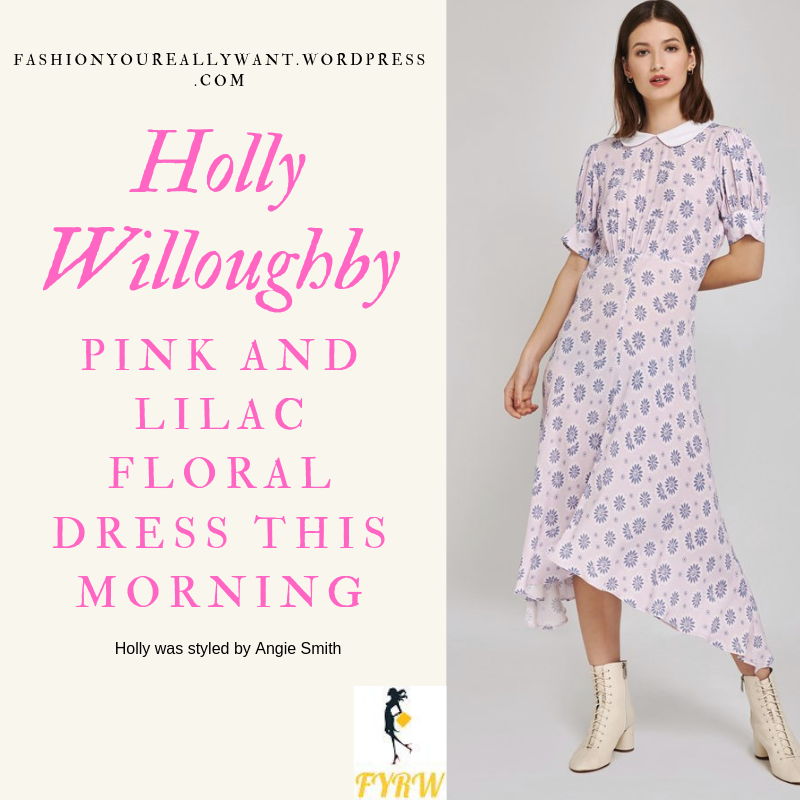 How To get Holly Willoughby This Morning outfit today pink and lilac floral dress with asymmetric hem and white collar nude court shoes blog June 2019