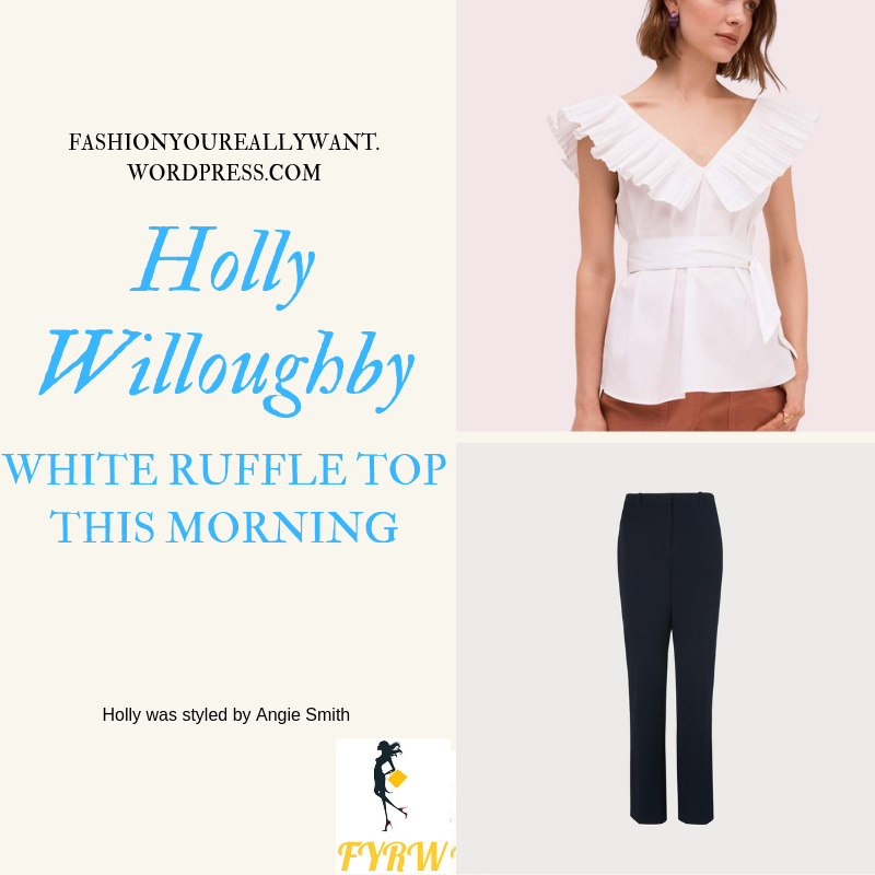 Where to find Holly Willoughby  This Morning outfit today white ruffle top navy trousers nude suede court shoes blog June 2019