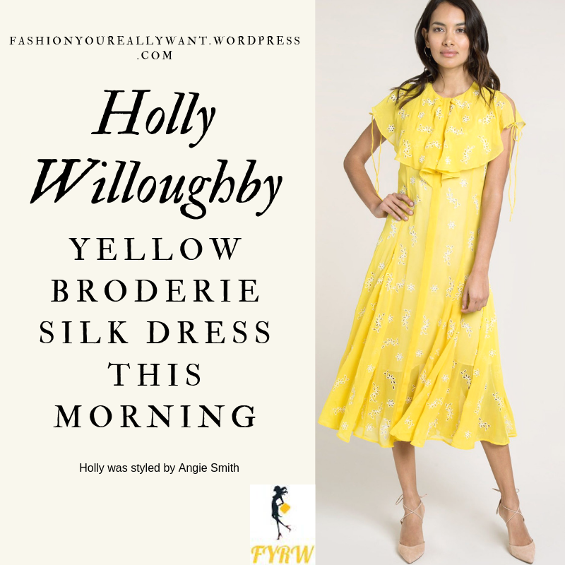 Find out what Holly Willoughby wore on This Morning outfit today yellow broderie dress nude court shoes blog June 2019