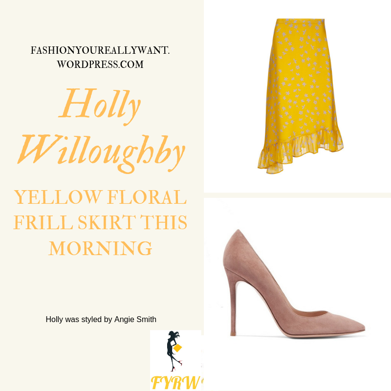 Where to find Holly Willoughby  This Morning outfit today Yellow Floral Frill Skirt lilac knit nude suede court shoes blog June 2019