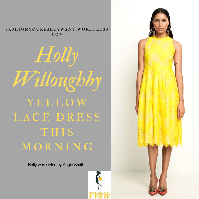 How to find Holly Willoughby  This Morning outfit today Yellow Lace Dress nude suede sandals blog June 2019