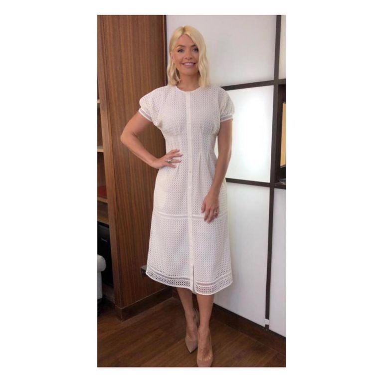 articles fashion love how to find holly Willoughby This Morning outfit today white borderie eyelet dress nuded suede court shoes June 2019 Photo Holly Willoughby