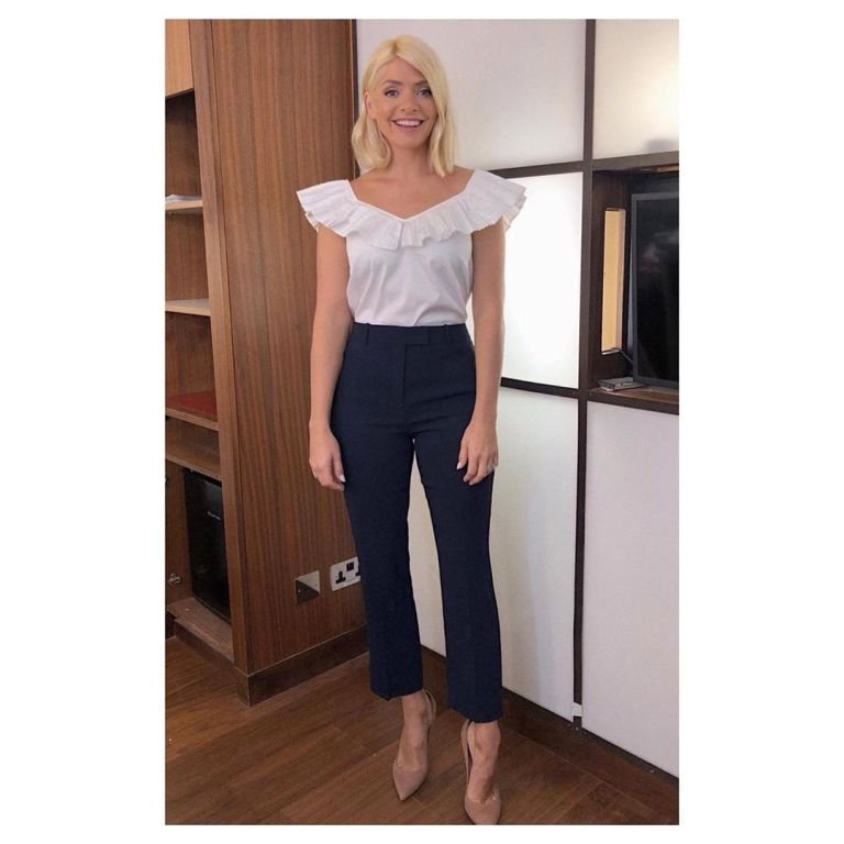 how to find Holly Willoughby This Morning outfit today white ruffle top navy trousers nude suede court shoes June 2019 Photo Holly Willoughby
