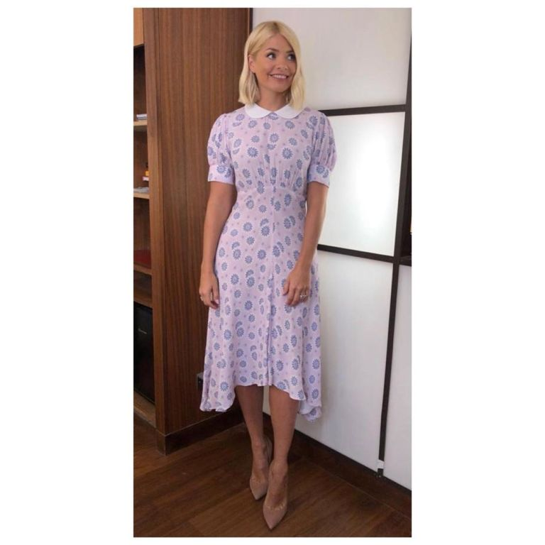 how to get Holly Willoughby This Morning outfit today pink and lilac collar dress nude court shoes June 2019 Photo Holly Willoughby