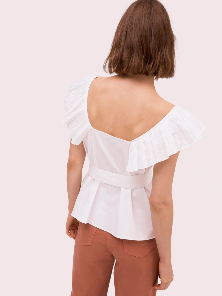 Kate Spade Ruffle Neck Tie Waist Top back view